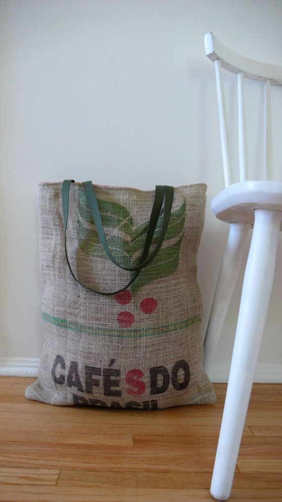 Large elephant bag in repurposed burlap from a coffee shipping sack