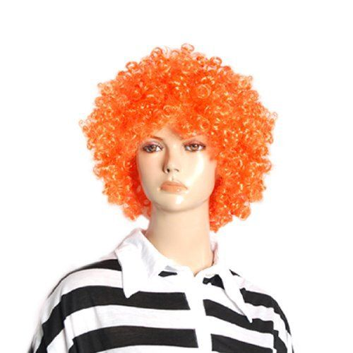 Rosallini Halloween Men Women Orange Curly Afro Circus Clown Wig by Rosallini. $8.18. Product Name : Clown Wig;Material : Synthetic Fiber. Interior Girth(No Stretchy) : 46cm/18.1''. Color : Orange;Deepth : 11cm/4.3''. Weight : 111g. Package Content : 1 x Clown Wig. Elastic head band fit for more size. Designed with afro circus hair style. This wig is suitable for halloween, costume party, cosplay or other fun parties.