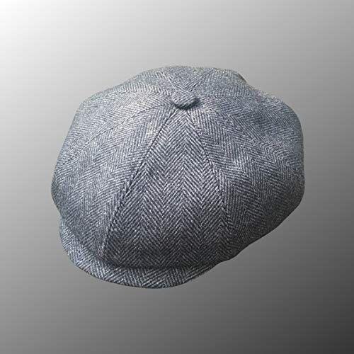 349feda3 Peaky Blinders Men's 8 Piece 'Newsboy' Style Flat Cap Wool (Medium (57 cm),  Grey /Black)   Peaky Blinders   Peaky blinders cap, Cap store, Newsboy cap