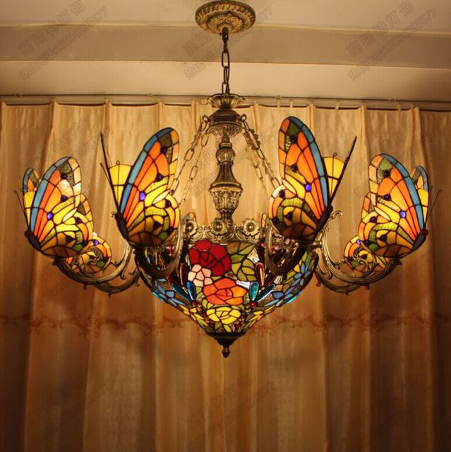 Tiffany Erfly Chandelier European Style Chandeliers Art Stained Glass Lamp Living Room Hotel Decoration