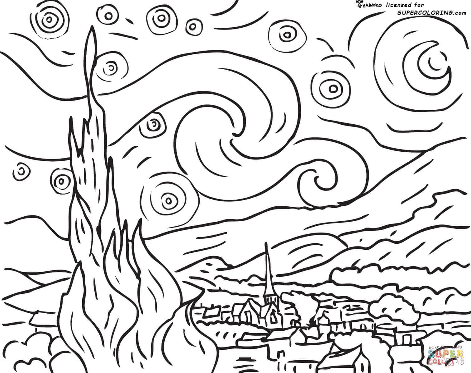 Starry Night By Vincent Van Gogh Coloring Page From Vincent Van Gogh Category Select From 26983 Printable Van Gogh Coloring Starry Night Van Gogh Van Gogh Art