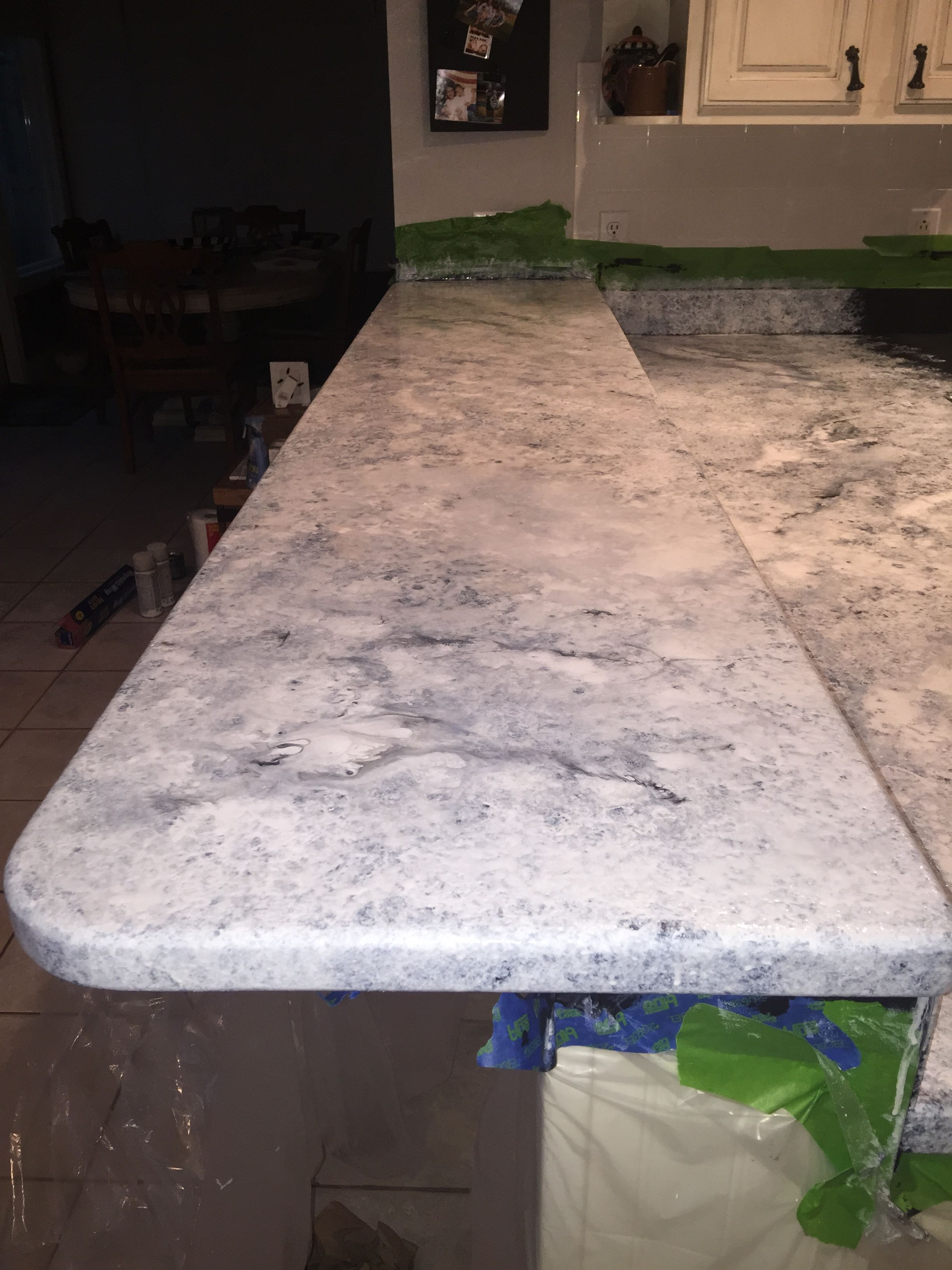 After A Couple Hours Using The Whites And Pearl Mica To Cover The Solid Black Pr Painting Countertops Painting Kitchen Countertops Painted Granite Countertops