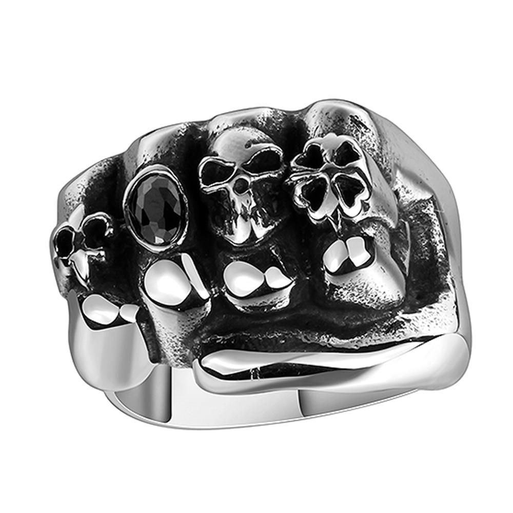Men/'s Stainless Steel Ring Band Punk Gothic Rock Skull Finger Silver Rings Biker