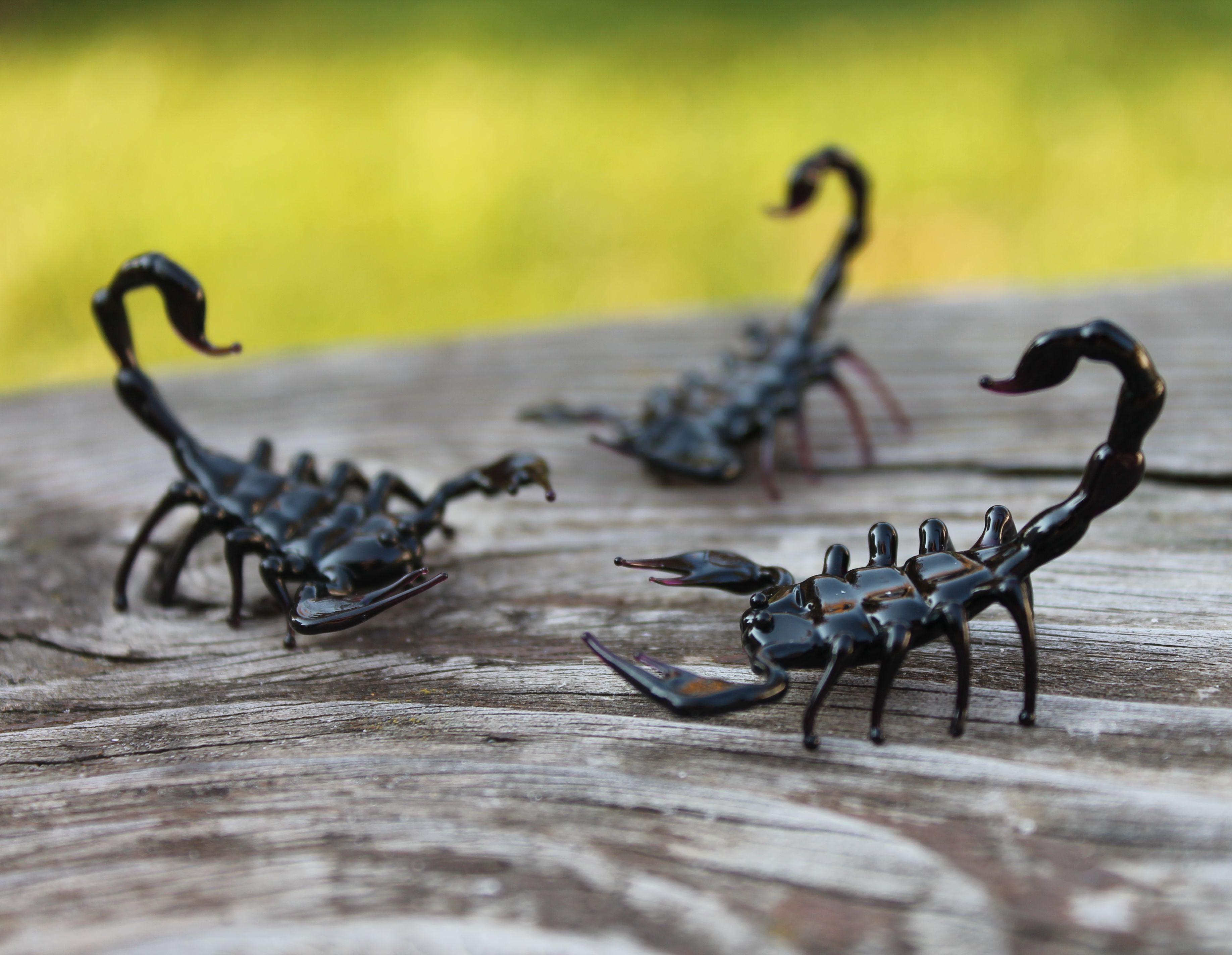 Black Emperor Scorpion Glass Sculpture glass figurine Black Glass Scorpion Figurine Glass Scorpio Scorpion Glass Miniature