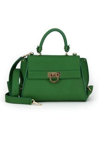 4db8d2e9be NEW Salvatore Ferragamo Sofia Medium Leather Satchel GREEN Cross Body Bag   SalvatoreFerragamo