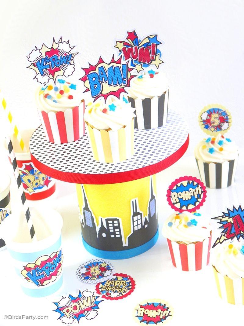 DIY Superhero Birthday Cupcake Stand | Pinterest | Superhero ...