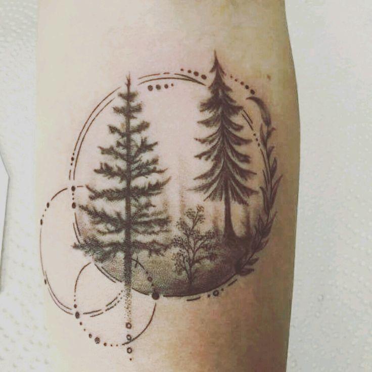 Photo of Tatouage d'arbre – #blackwork #forearm #forest #forestattoo #fineline –