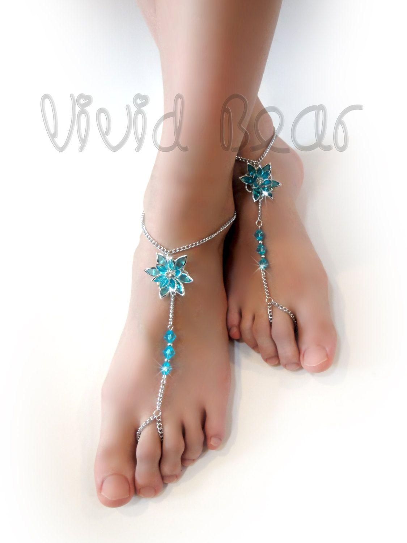 Beach wedding foot jewelry  Blue Lotus Flower Barefoot Sandals Beaded Chain Foot Jewelry Aqua