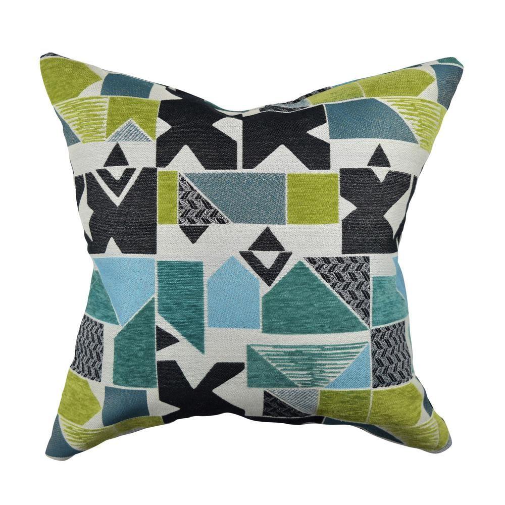 Bold geometric shape jacquard throw pillow multi color bald