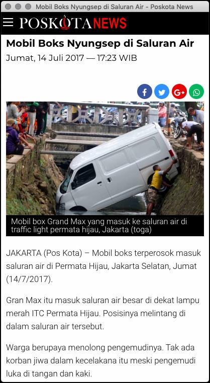 Salah Masa Lewat Got Sampai Nyungsep Segitunya Mobil