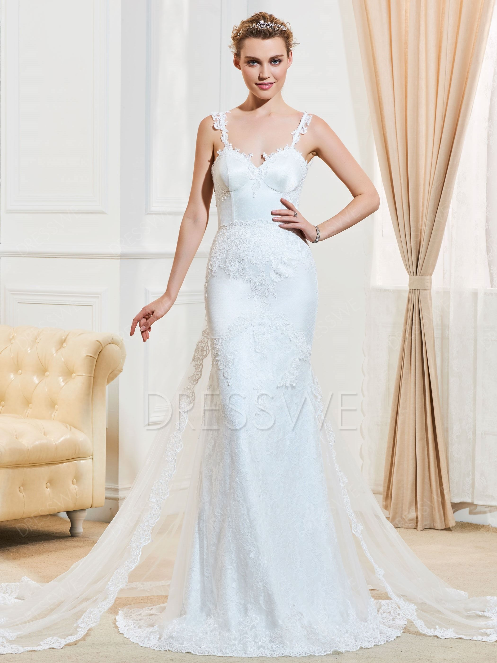 Wedding dress without train   Dresswe SUPPLIES Spaghetti Straps Lace Watteau Train