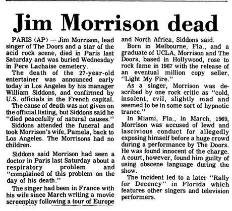 Image result for jim morrison death