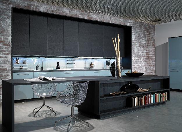 Alno Küche in schwarz. Küche kombiniert mit Wohnzimmer ...