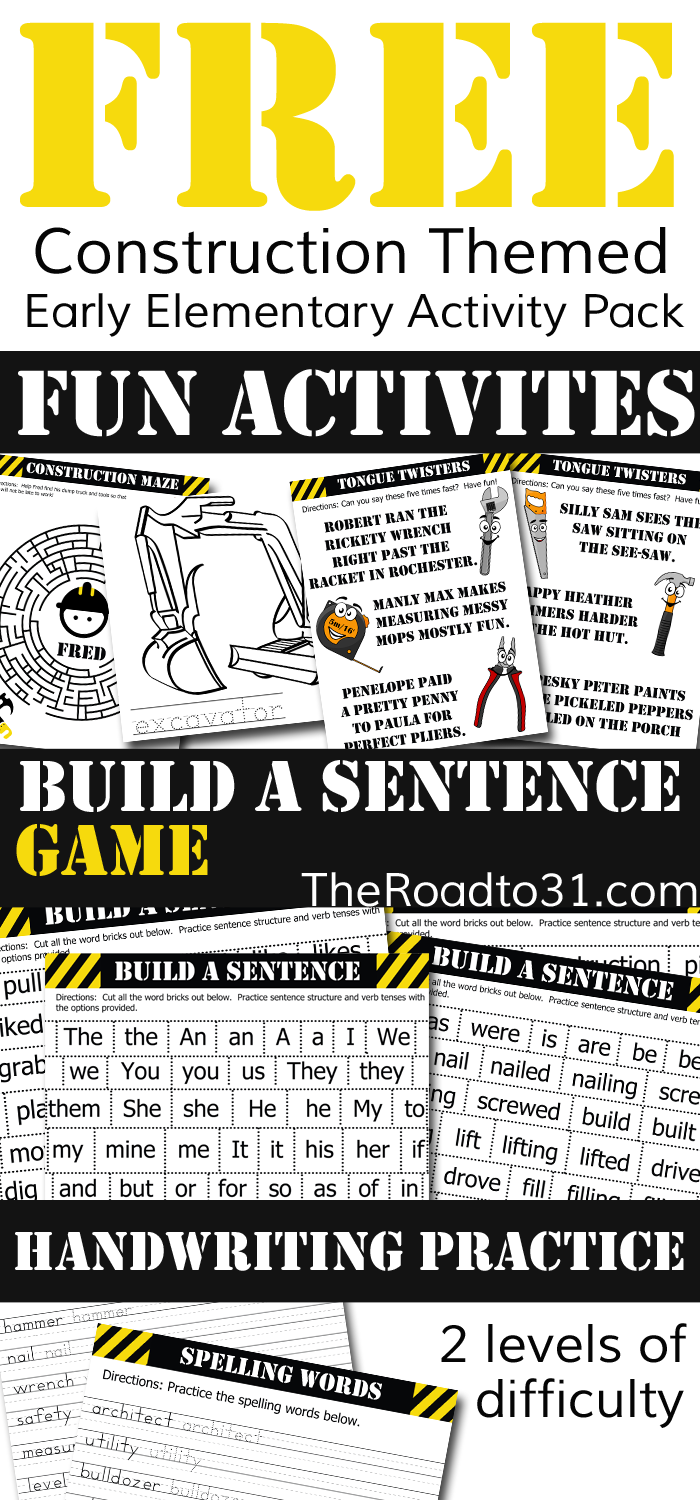 FREE Construction Zone Educational Elementary Activity Pack: Practice Basic Grammar Skills with a Brick Laying Game, Read fun Tongue Twisters, and MORE!