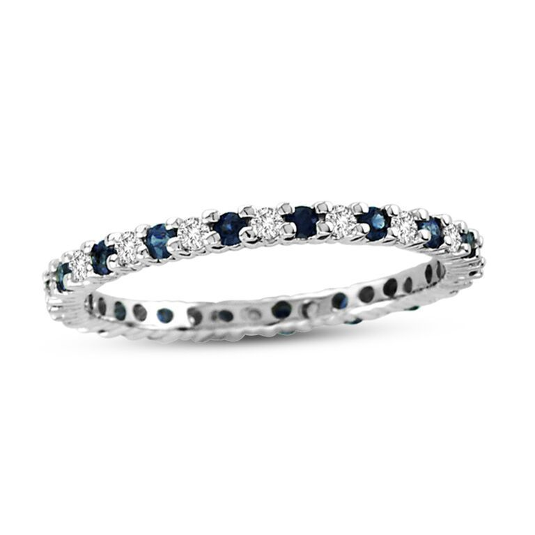 Suzy Levian 14k White Gold Diamond And Sapphire Eternity