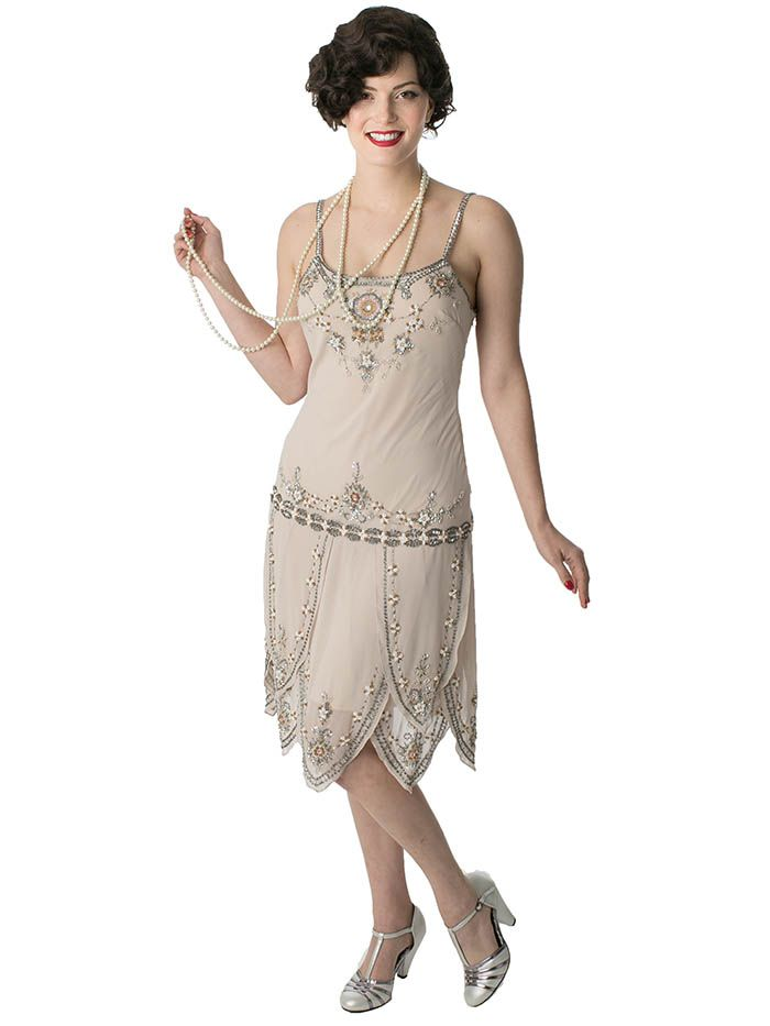 1920s Flapper Style Beaded Champagne Dress   Vintage ...