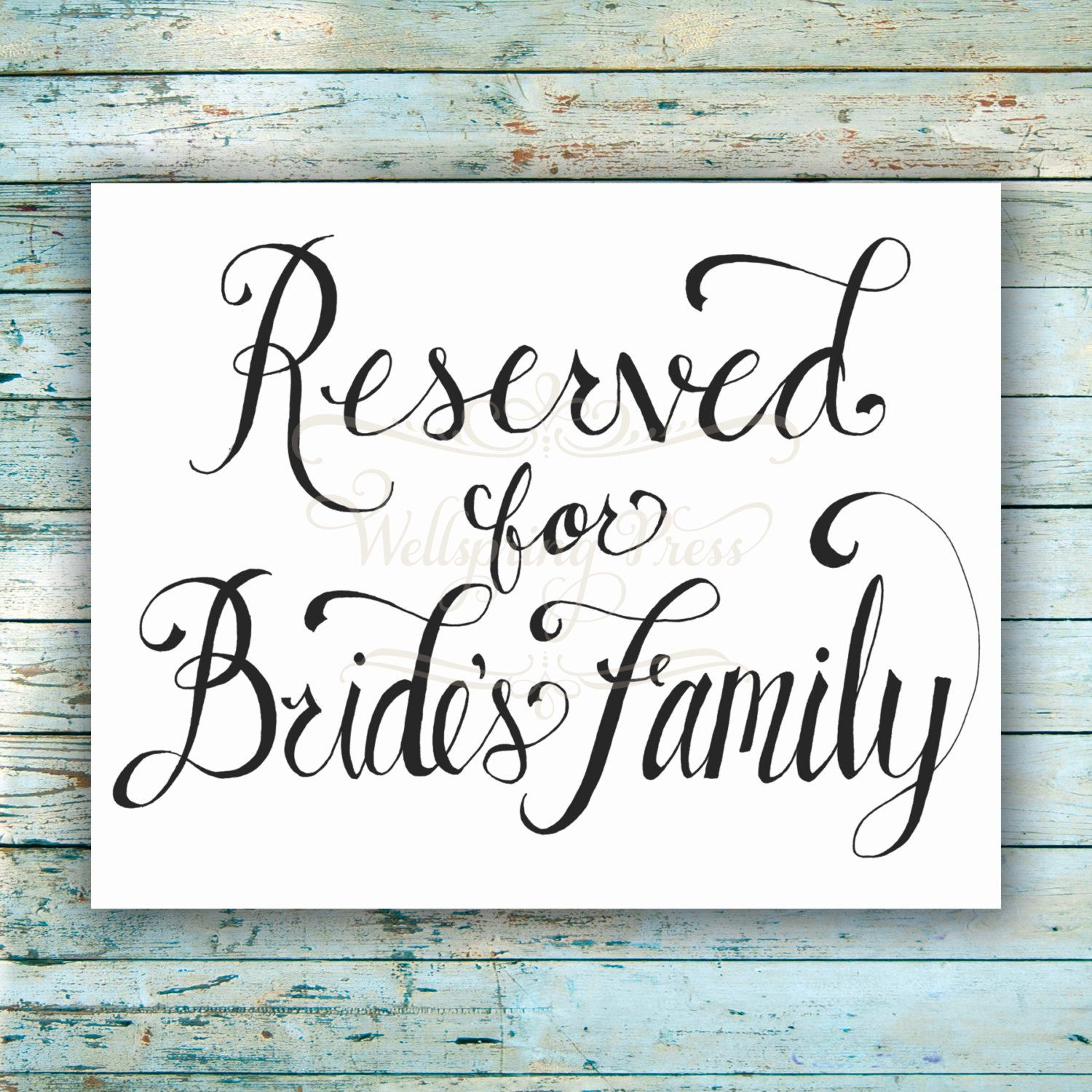 14++ Reserved sign wedding table information