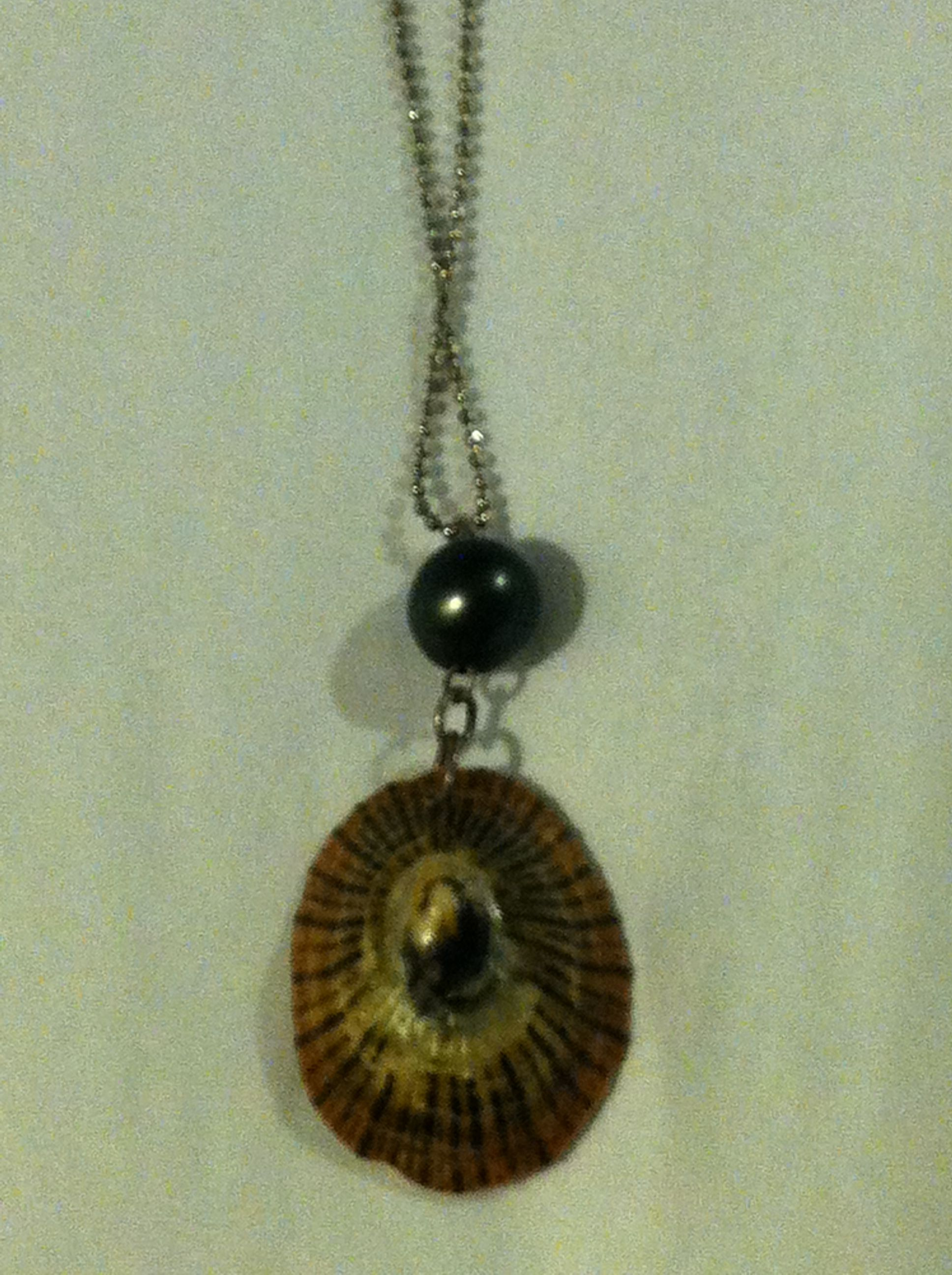 Opihi from Kaanapali Beach, Lahaina, HI with Tahitian Pearl on sterling silver chain