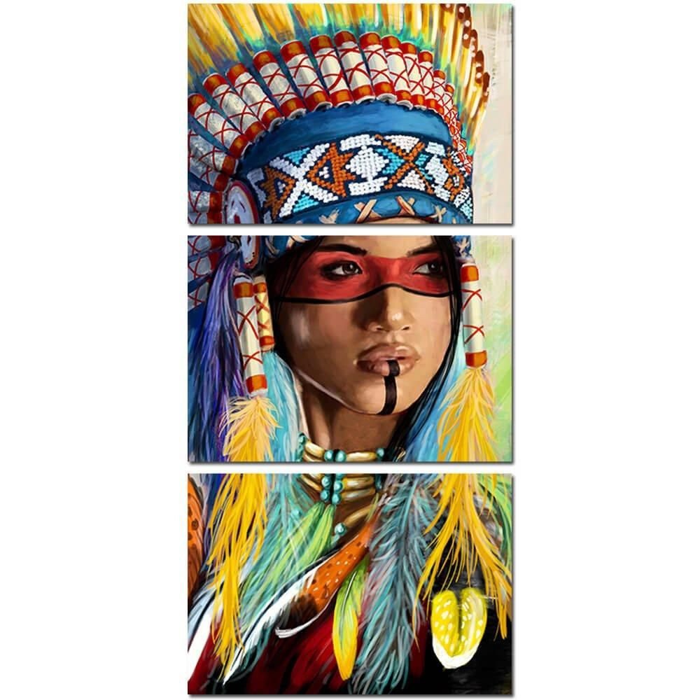 3 Panel Native American Indian Feathered Feathers Canvas Wall Art Print