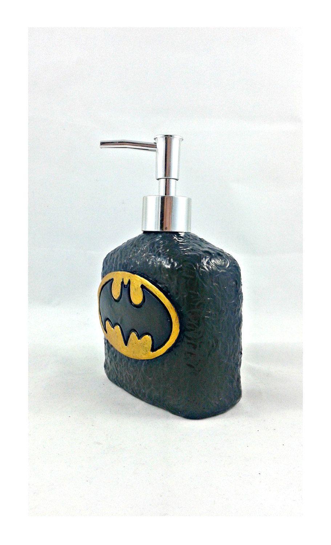 Batman Logo Soap Dispenser, Kids Bathroom, Superhero Bath Accessories    Pinned By Pin4etsy.