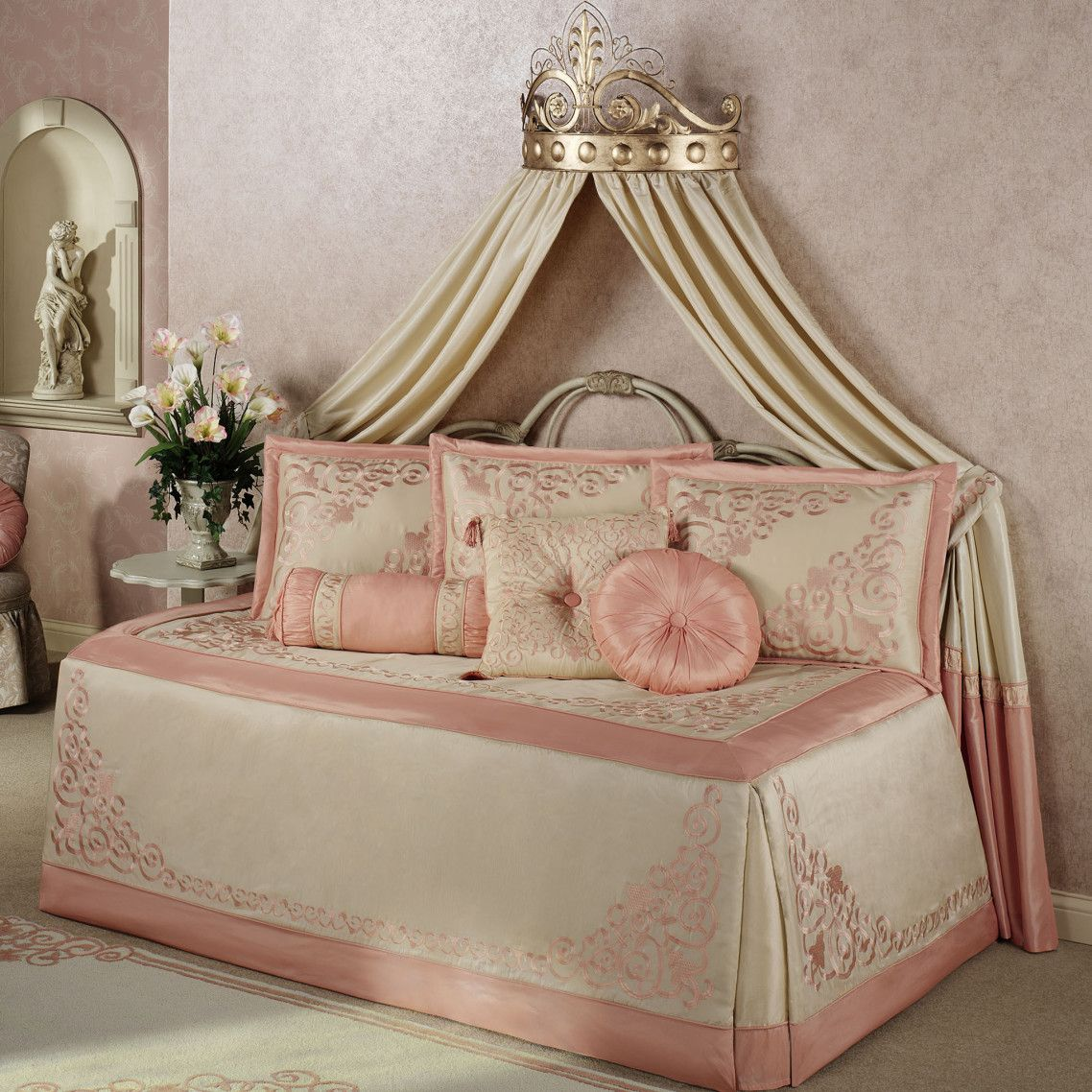 Princess Pink Blush Daybed Bedding Sheets Combined Wall Silk