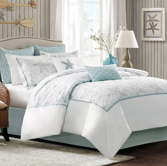 me shell blue sets vict seashell nautical runclon set comforter