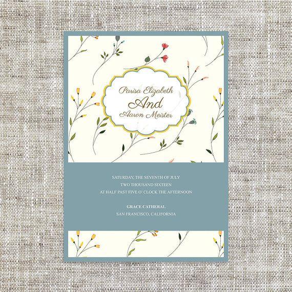 DIY Printable Wedding  Birthday Invitation Card Template Instant - microsoft birthday invitation templates