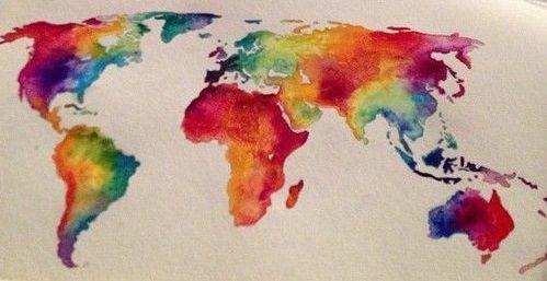 Watercolor world map 3 ink pinterest watercolor tattoo and watercolor world map 3 gumiabroncs Images