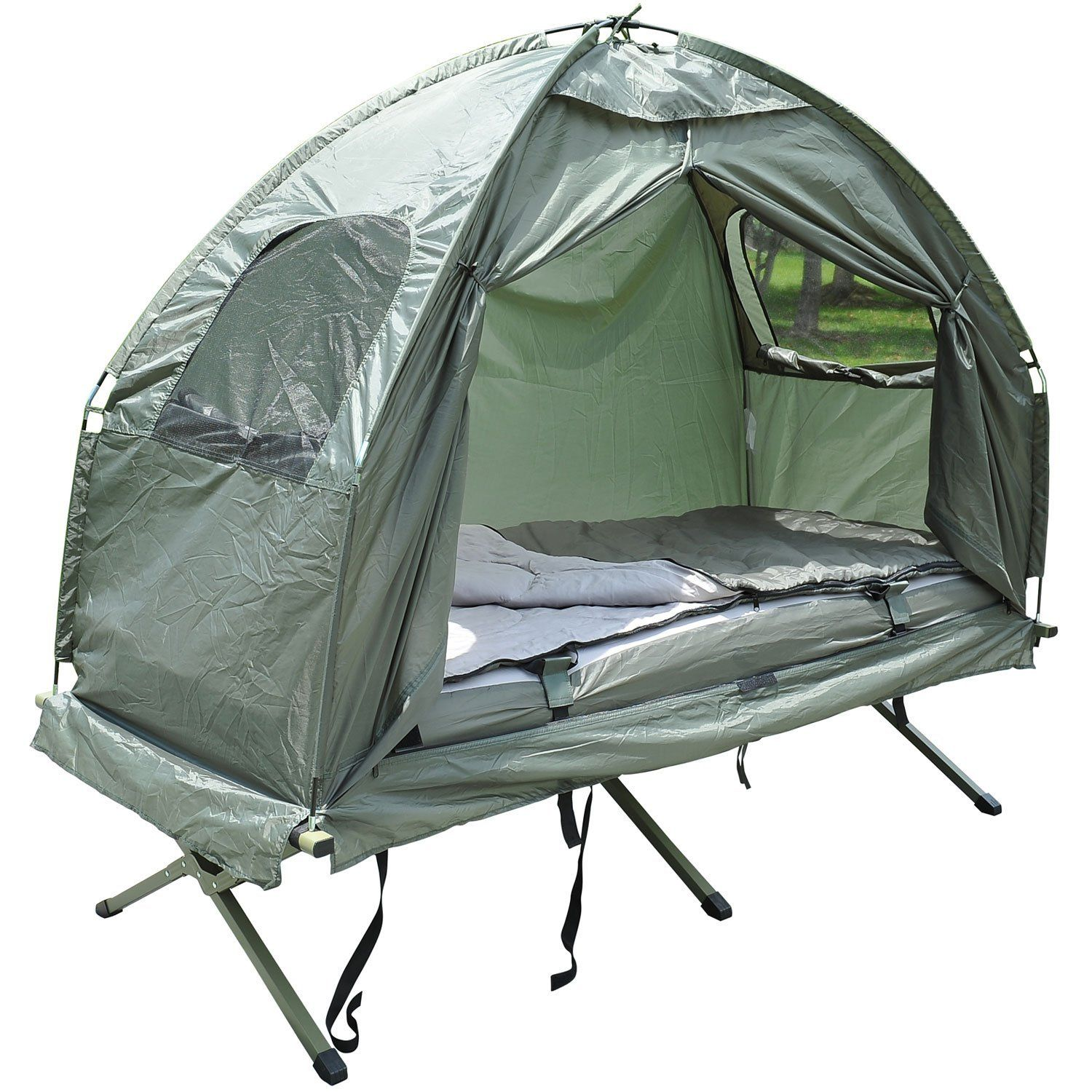 Outsunny Compact Portable Pop Up Tent Camping Cot With Air Mattress And Sleeping Bag