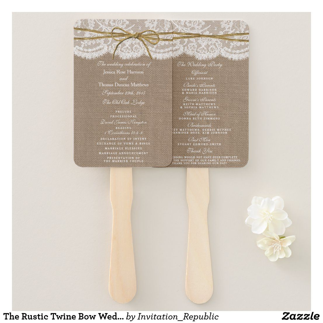 The Rustic Twine Bow Wedding Collection - Programs Hand Fan | Zazzle.com in  2020 | Burlap lace wedding, Wedding bows, Country wedding gifts