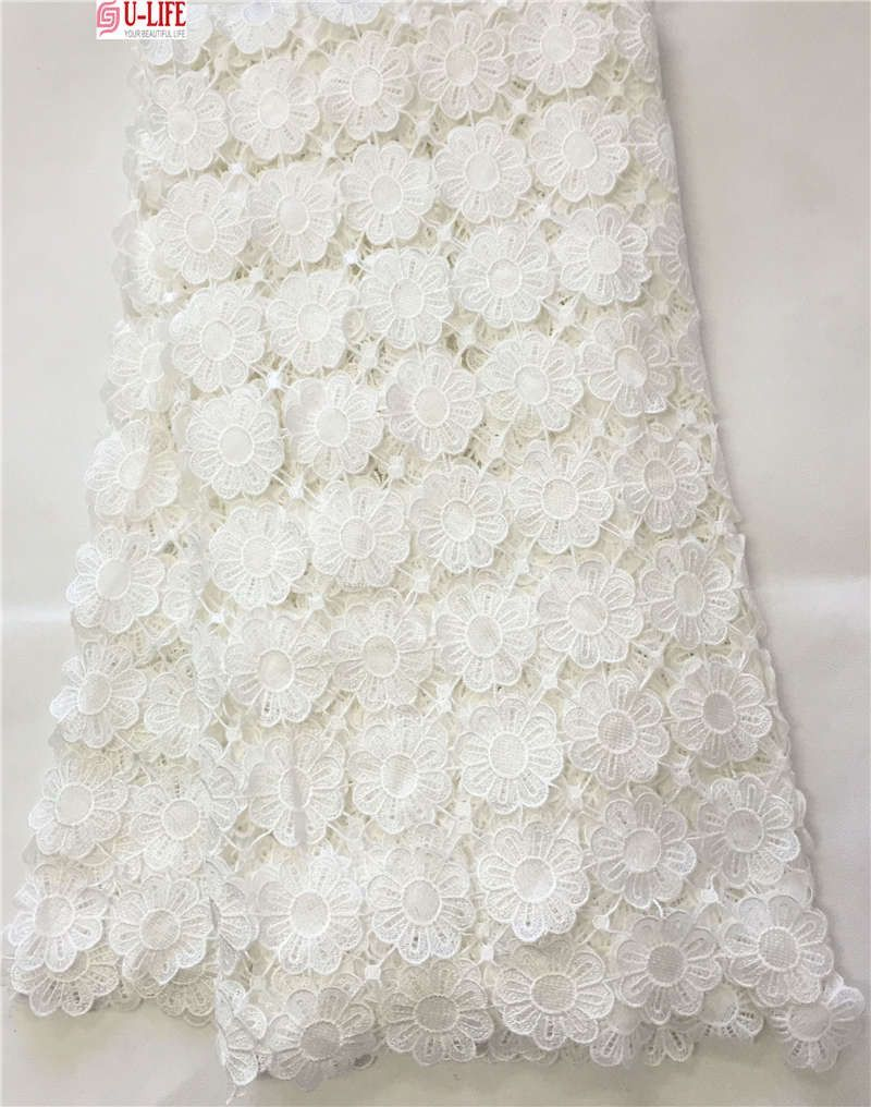 African lace hot sell mesh plain white color african cord lace
