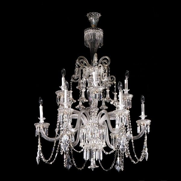 A fine and large translucent crystal chandelier by Baccarat - A Fine And Large Translucent Crystal Chandelier By Baccarat