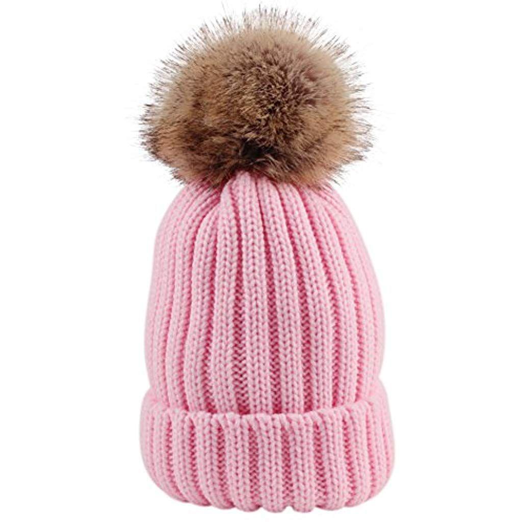 22415a7c181c8 Sunbeter Hiver Bébé Tricot Chapeau Mignon Bonnet Chaud Chapeau avec Deux  Pompons De Fourrure pour Bébé
