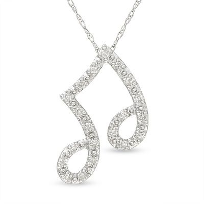 Eighth note music pendant in 10k white gold with diamond accents eighth note music pendant in 10k white gold with diamond accents zales also aloadofball Choice Image