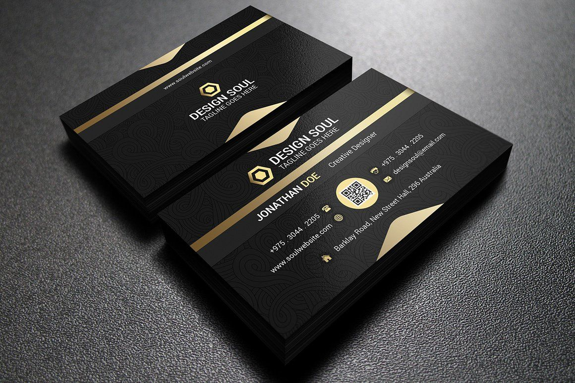 Gold And Black Business Card Black Business Card Business Card Template Design Business Cards Creative Templates