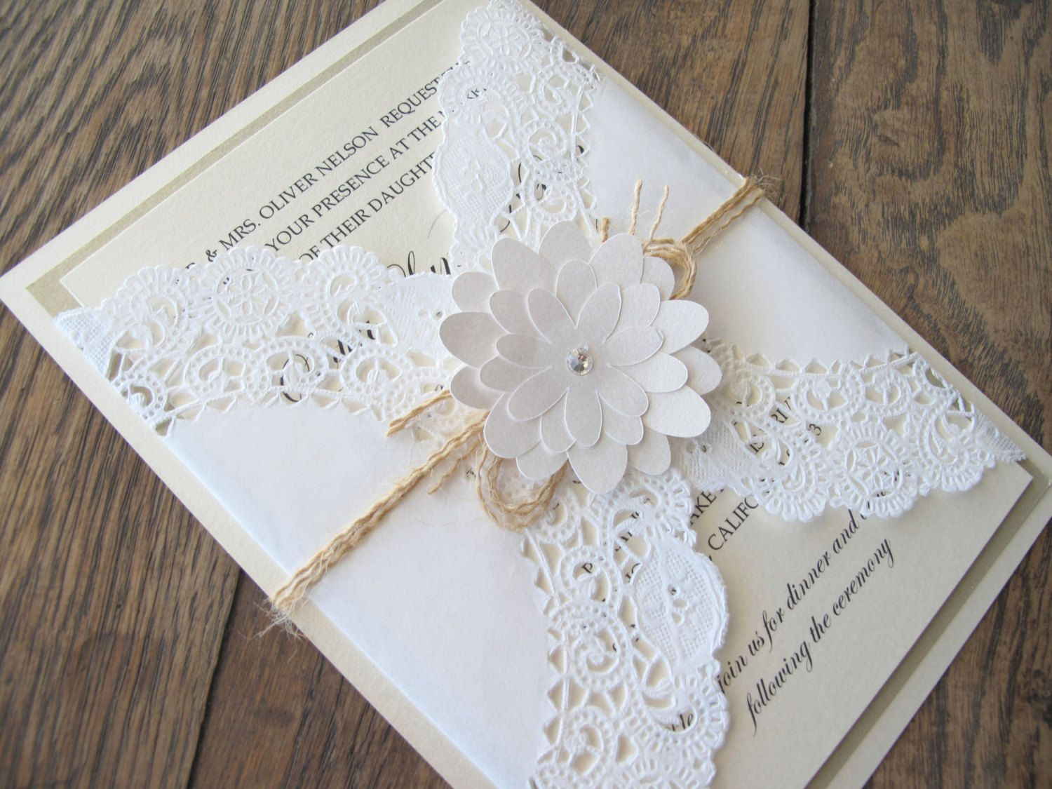 Shabby Chic Lace Doily Flower Wedding Invitation Invite. $6.00, Via Etsy.