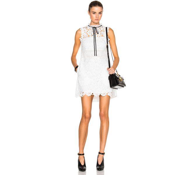 self-portrait Watteau Back Mini Dress ($400) ❤ liked on Polyvore featuring dresses, white mini dress, white lace crochet dress, short white dresses, crochet lace dress and key hole dress