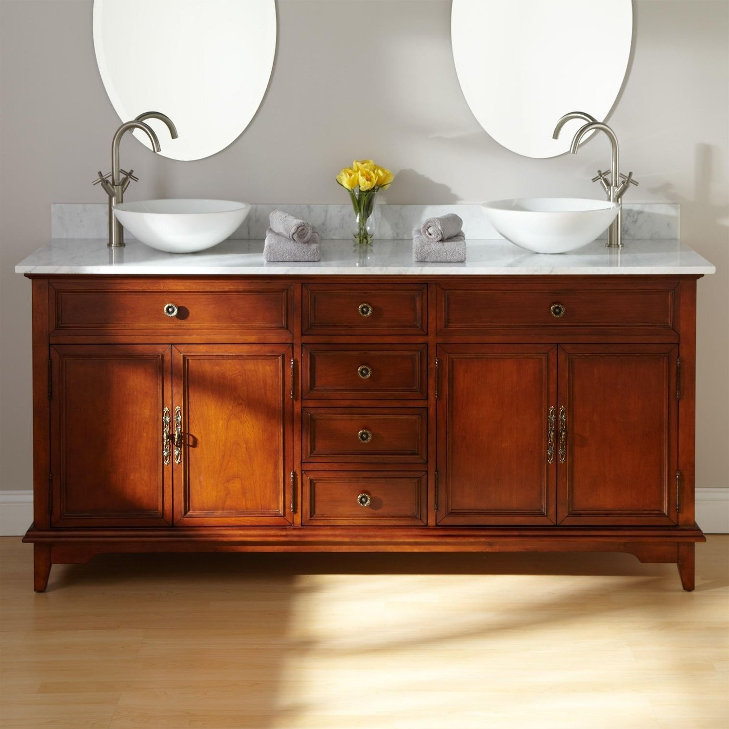 Mahogany bathroom furniture - Furniture Classic Look Of Brown Mahogany Bathroom Vanity Cabinet Designs With Double White Vessel Sink