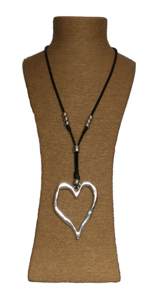 c447618b9578 Silver Heart Lagenlook Pendant   Leather Cord Necklace Fashion Boho  Jewellery