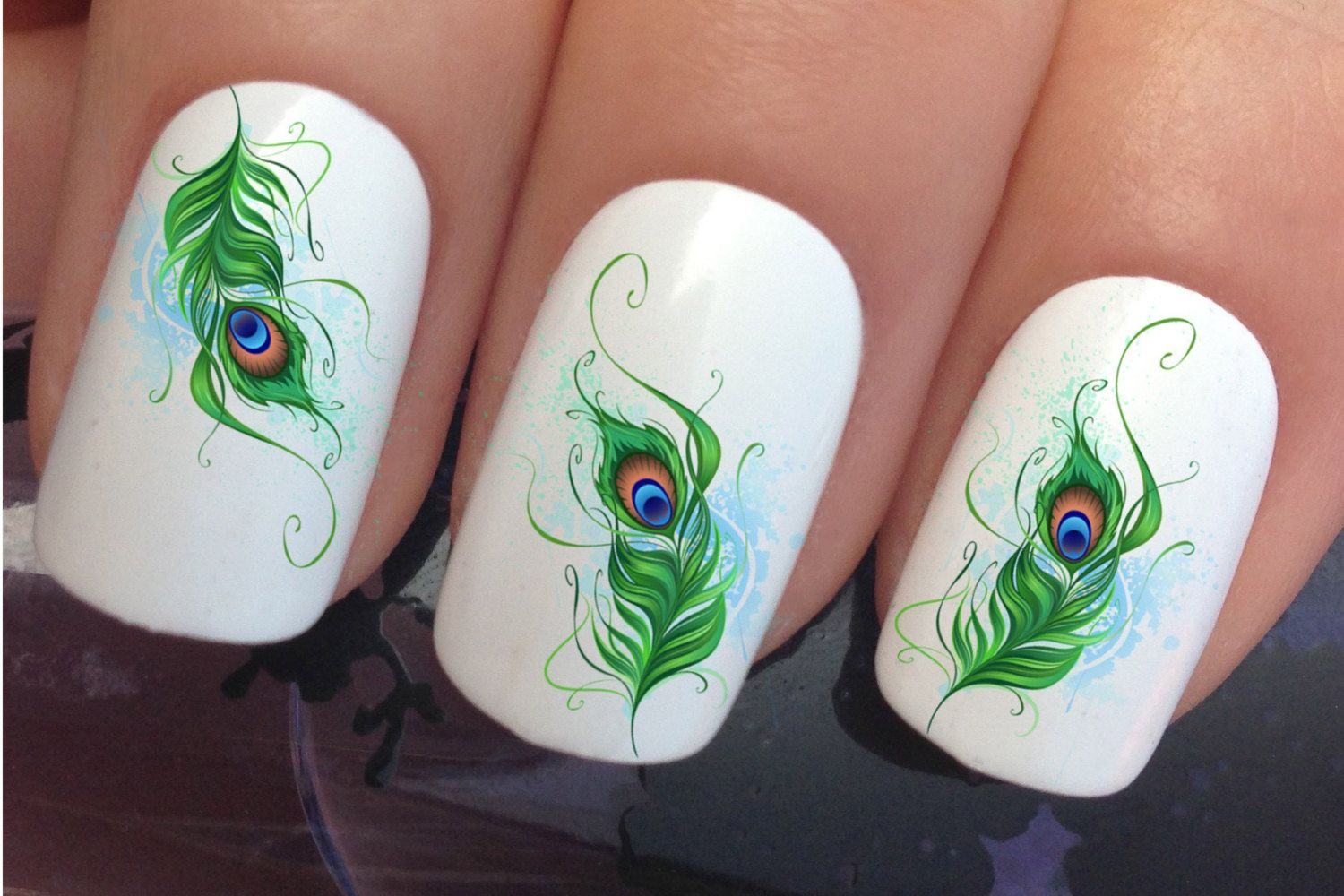 nail decals #613 peacock eye tail feathers water transfers stickers ...