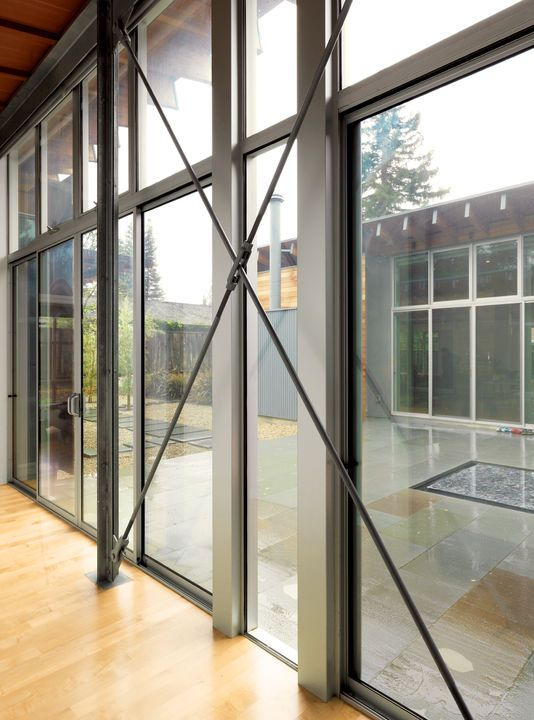 Tension Rods Provide Bracing For The Glass Walls And