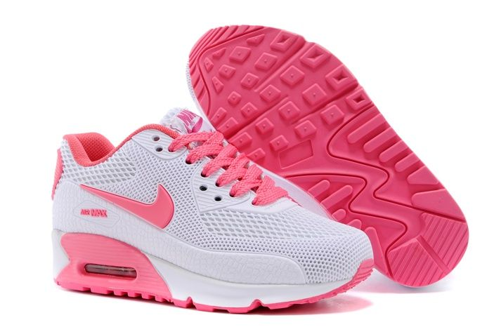 promo code 79709 a138e Discount Nike Air Max 90 KPU TPU Rose Chaussures De Sport Blanc