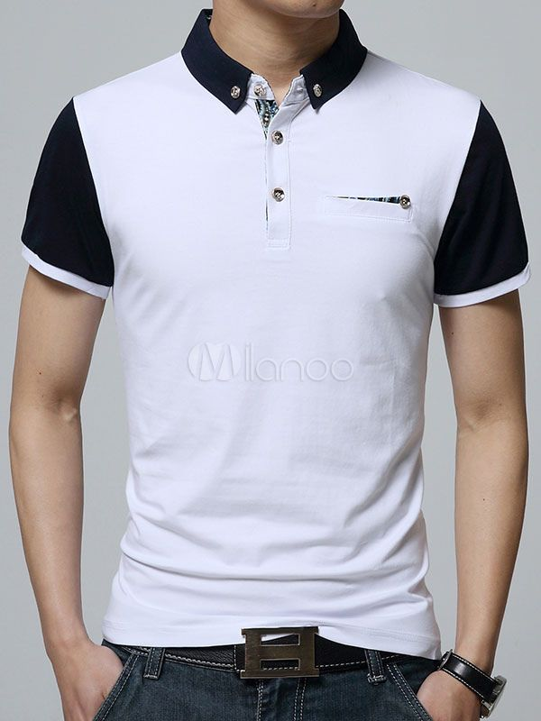 Camisa Polo blanca camisa de Polo de algodón Chic para hombres ... 50d04252d8ea9