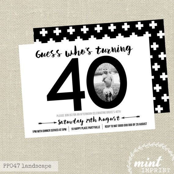 40th Birthday Invitation Black And White Invite By Mintimprint