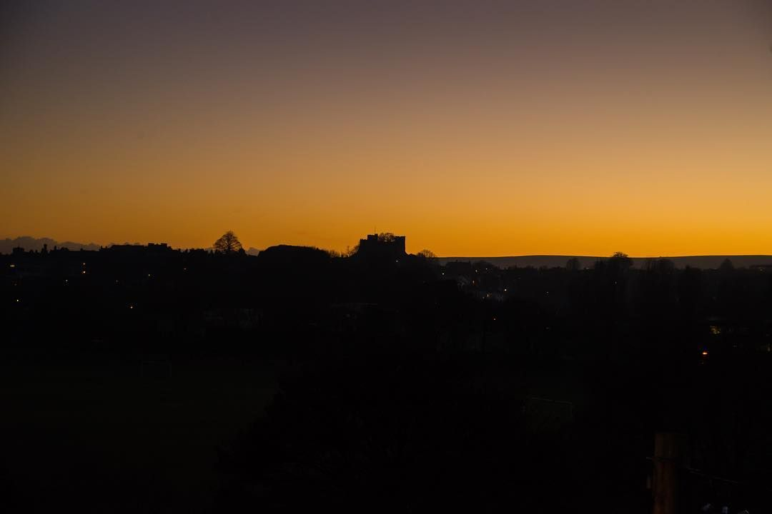 This might not be the best photo in the World but there is a simple silence to it. The object in the middle is Lewes Castle in the sunset.