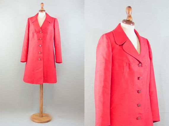 1960s shantung coat / light weight vibrant red by MyLoftVintage