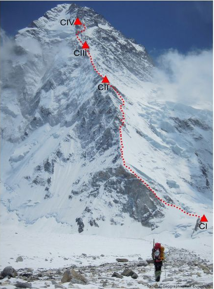 Gerlinde Kaltenbrunner on her way to the North Ridge of K2