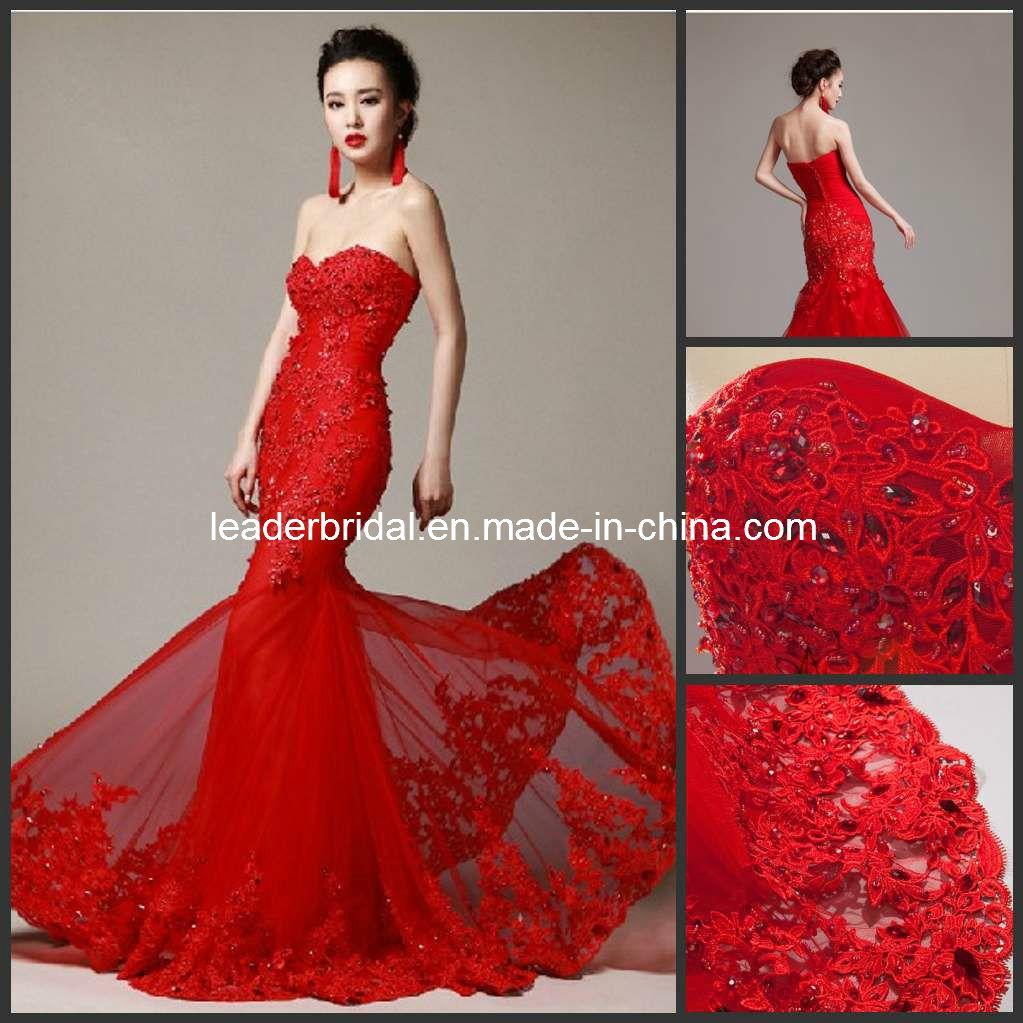 Red Mermaid Wedding Gown Satin China Red Wedding Dress Lace Mermaid Corset Bridal Wedding Cores [ 1023 x 1023 Pixel ]