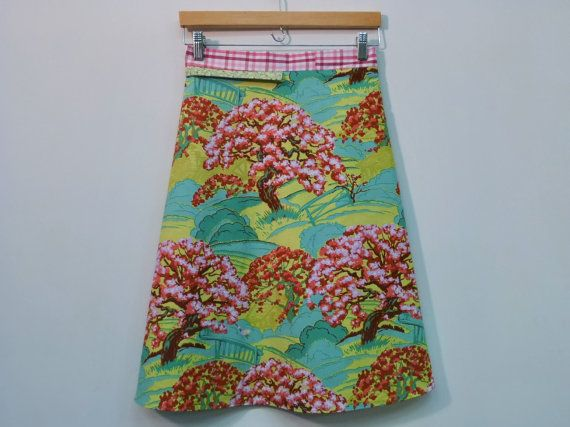 S/M Blooming Trees Wrap Skirt Women's A Line by mountainashdesign (on Etsy)