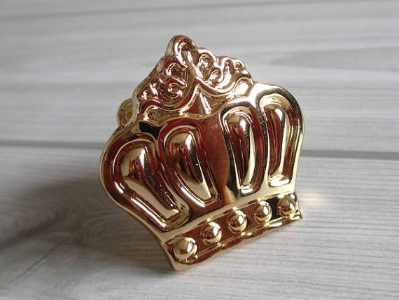 Gold Crown Knobs Dresser Knob Drawer Knobs Pulls Handles / Cabinet Knobs  Pull Handle / Decorative
